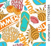 colorful starfish  shells.... | Shutterstock .eps vector #577432384