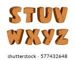 bold wooden textured font... | Shutterstock .eps vector #577432648