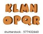 bold wooden textured font... | Shutterstock .eps vector #577432660