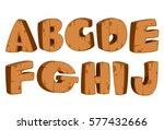 bold wooden textured font... | Shutterstock .eps vector #577432666