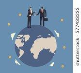 partnership agreement in world... | Shutterstock .eps vector #577433233
