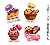sweet tasty cakes  bakery and... | Shutterstock .eps vector #577444573