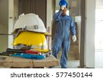yellow and white helmet with... | Shutterstock . vector #577450144