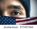 refugee and american flag ...   Shutterstock . vector #577457464