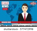 anchorman on tv broadcast news. ...   Shutterstock .eps vector #577472998
