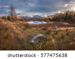 mirror surface wide angle lake... | Shutterstock . vector #577475638
