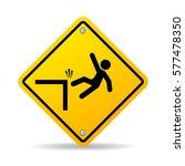 Falling Danger Vector Sign On...