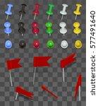 set of pushpins on transparent... | Shutterstock .eps vector #577491640