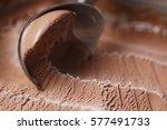 scooping chocolate ice cream... | Shutterstock . vector #577491733