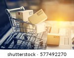 paper boxes in a shopping cart... | Shutterstock . vector #577492270