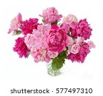 Peony Bunch Isolated On White...