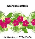 seamless strip of tropical... | Shutterstock .eps vector #577498654