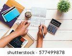 accountant verify the saving... | Shutterstock . vector #577499878