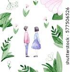 teenager boy and girl secretly... | Shutterstock . vector #577506526
