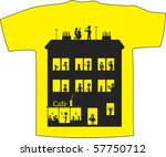 My home. Vector T-shirt design - stock vector