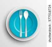 plate  spoon and fork isolated...   Shutterstock .eps vector #577518724