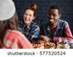 indoor shot of interracial... | Shutterstock . vector #577520524