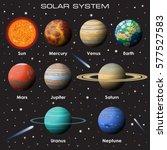 vector set of gradient planets... | Shutterstock .eps vector #577527583