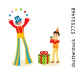 clown animator entertains the... | Shutterstock .eps vector #577531468