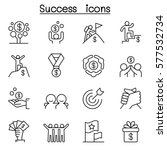 success icon set in thin line... | Shutterstock .eps vector #577532734