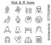 sick   ill  icon set in thin... | Shutterstock .eps vector #577533988