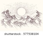 Stock vector sun rise over the mountains panorama 577538104