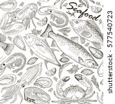 seafood set seamless pattern | Shutterstock .eps vector #577540723