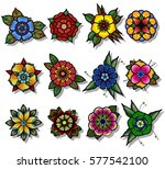 vector traditional tattoo... | Shutterstock .eps vector #577542100