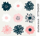 a set of nine hand drawn floral ...   Shutterstock .eps vector #577543459