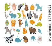 vector animals  cute characters ... | Shutterstock .eps vector #577549318