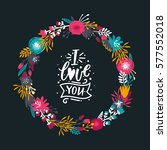 vector floral wreath. gold and... | Shutterstock .eps vector #577552018