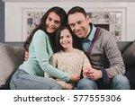 family portrait of happy... | Shutterstock . vector #577555306