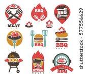 bbq 24 stickers logos set...   Shutterstock .eps vector #577556629