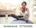 beautiful young woman in... | Shutterstock . vector #577565680