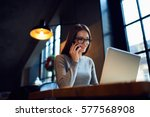attractive female trader of web ... | Shutterstock . vector #577568908