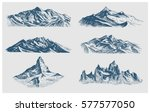 big set of mountains peaks ... | Shutterstock .eps vector #577577050