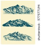 big set of mountains peaks ... | Shutterstock .eps vector #577577194