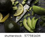 fresh avocados and lime slices  | Shutterstock . vector #577581634