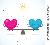 cute hearts  the relationship... | Shutterstock .eps vector #577595434