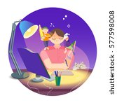 colorful illustration with the ... | Shutterstock .eps vector #577598008
