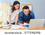 couple working together at... | Shutterstock . vector #577598398