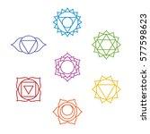 set of seven chakra symbols.... | Shutterstock .eps vector #577598623