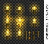set of yellow shining garland... | Shutterstock .eps vector #577605190