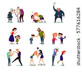 angry male and female people... | Shutterstock .eps vector #577616284