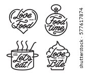 food related typography set.... | Shutterstock .eps vector #577617874
