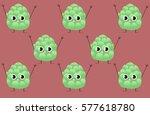 funny cartoon artichoke pattern ... | Shutterstock .eps vector #577618780