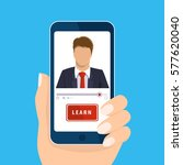 online learning. hand holding... | Shutterstock .eps vector #577620040