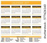calendar for 2017 year. vector...   Shutterstock .eps vector #577626160