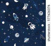 vector flat space seamless... | Shutterstock .eps vector #577626376
