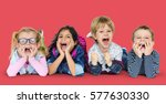 little children laying down... | Shutterstock . vector #577630330
